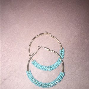 Zaful Jewelry - Gold and turquoise hoops
